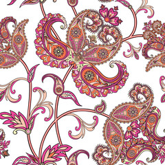 Flourish tiled pattern. Floral oriental ethnic background. Arabi