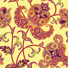 Flower tiled pattern Abstract floral oriental ornament Geometric Flourish background