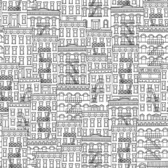 Seamless pattern of New York style houses with fire escape stairs