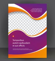 Magazine, flyer, brochure, purple cover layout design print template