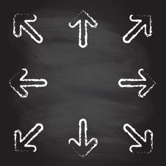 Hand drawn arrow icon set isolated on blackboard texture. Vector illustration.