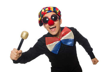 Clown with microphone isolated on white Wall mural