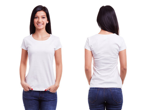 White t shirt on a young woman template