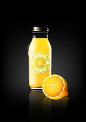 Yellow Lemon juice in a glass bottle for design advertisement and vintage logo, fruit, transparent, Vector