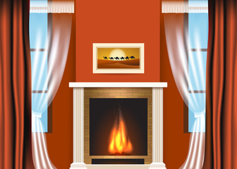 Classic living room interior with fireplace and curtains. Vector illustration