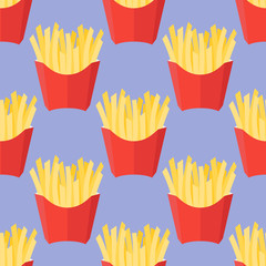 Seamless pattern with french fries on blue background. Vector illustration.