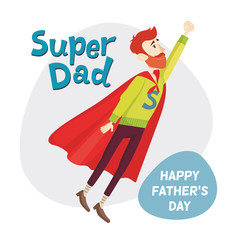 Super Dad. Fathers Day Greeting Card. Vector illustration