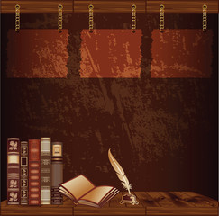 Dark brown retro template with old books