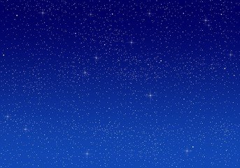 Beautiful romantic bright blue sky at night with a large number of illuminating white lustrous stars