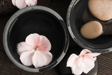 Spa still life, with pink flowers, stones and water