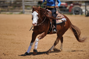 The rider on horseback galloping ahead