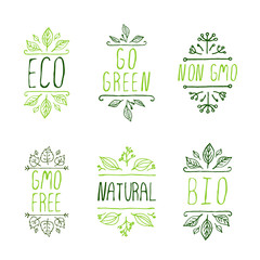 Hand-sketched typographic elements. Eco product labels.