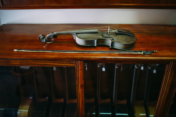 Closeup of a violin in a workshop of a luthier