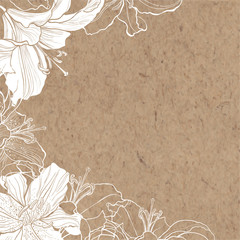 Floral background with lily on kraft paper. Can be greeting card or invitation