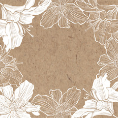 Floral background with lily on kraft paper. Hand-drawn oval flower frame