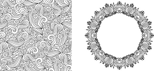 Coloring page with abstract floral elements. Seamless pattern. F