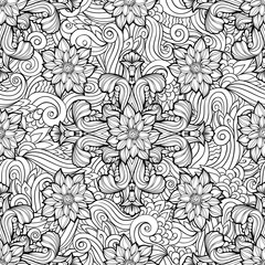 Coloring page with abstract floral elements
