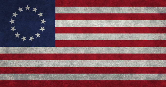 American 13 point historic flag Commonly called  the Betsy Ross flag, this version features vintage retro textures.