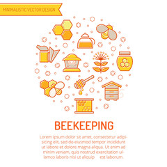 Set of outlined honey and beekeeping icons
