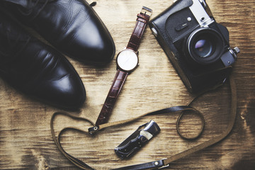 shoes, camera and watch