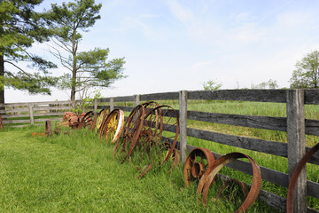 Rusty Wheel, Rustic Fence