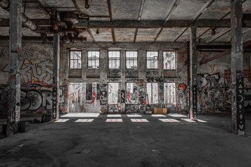 Self adhesive Wall Murals Old abandoned buildings abandoned warehouse - factory room - empty loft