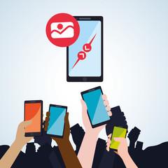 smartphone design. app concept. colorful illustration