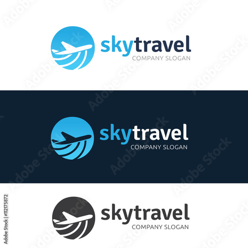 Online Travel Agency Tourism Logo Plane
