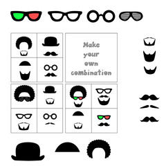 Facial hair and accessories. Mustache, beard, glasses, hat, hair. Combine items to create a desired look. Vector isolated illustration.