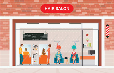 Hair salon building and interior with customer.