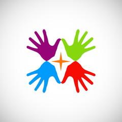 hands colored vector logo