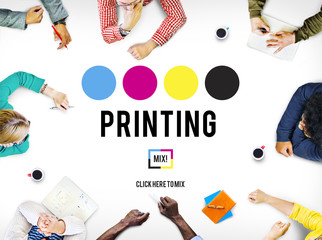 Printing Process Offset Ink Color Industry Media Concept Wall mural