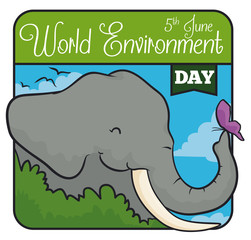 Elephant behind a Bush with a Butterfly in World Environment Day, Vector Illustration