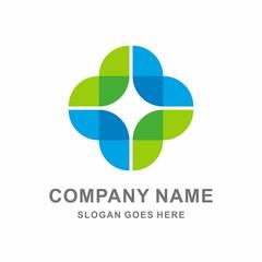 Medical Pharmacy Geometric Cross Vector Logo Template