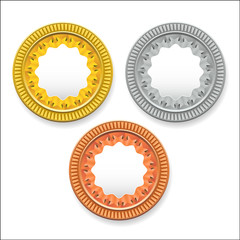 vector round empty medals of gold silver bronze. It can be used as coins buttons icons