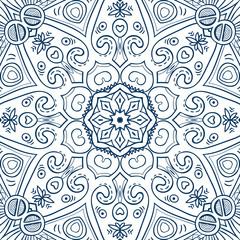 Hand-drawn mandala for coloring, square background, lace ornament pattern, monochrome contour mandala, EPS 8