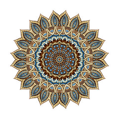 Watercolor mandala in indian style with paisley elements.