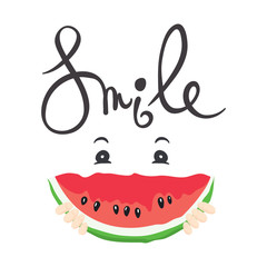 A fun summer smile/ Vector illustration with slices of watermelon
