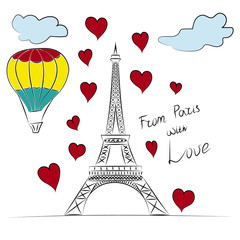 Paris, Eiffel tower and romance travel