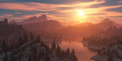 Foto op Plexiglas Zalm The forest on the rocky coast at sunset.