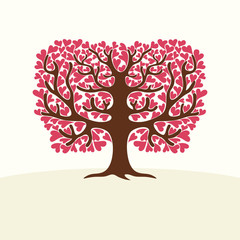 Tree with hearts. Vector Illustration.