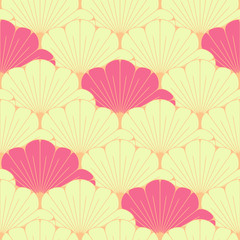a Japanese style seamless tile with exotic foliage pattern in pink