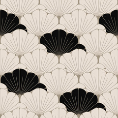 a Japanese style seamless tile with exotic foliage pattern in soft brown and black