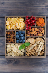 breakfast cereal, dried fruit, berries and nuts in a wooden box