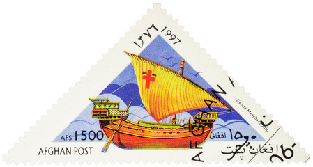 Ancient Genoa merchant ship on postage stamp