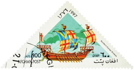 Ancient Northern Europe warship dromon on postage stamp