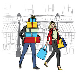 woman and man with shopping bags