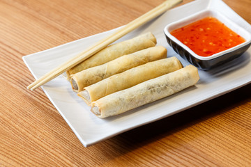Fried spring rolls with chicken and vegetables