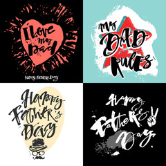 Fathers day concept hand lettering motivation posters.