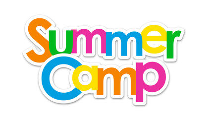 """""""SUMMER CAMP"""" Multicoloured Vector Letters Icon"""